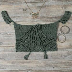 Tops - Green crochet festival top